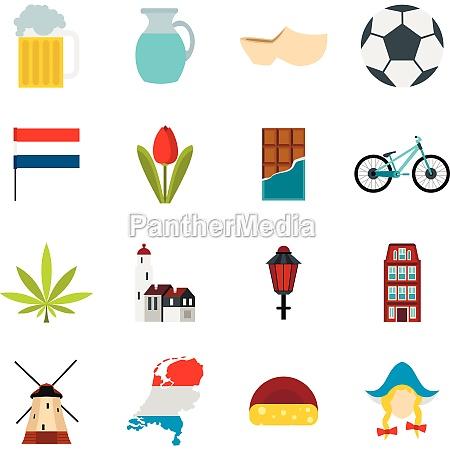 netherlands, icons, set, , flat, style - 29923059