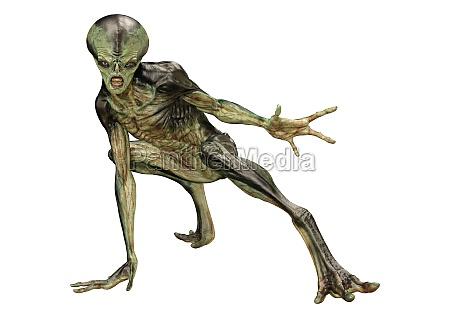 3d rendering gruen alien auf weiss