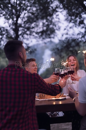 freunde toasten rotweinglas beim picknick franzoesisch