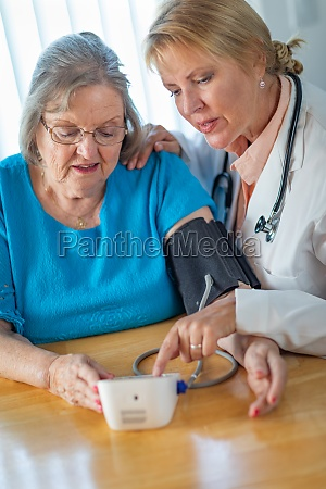 senior adult woman learning from female