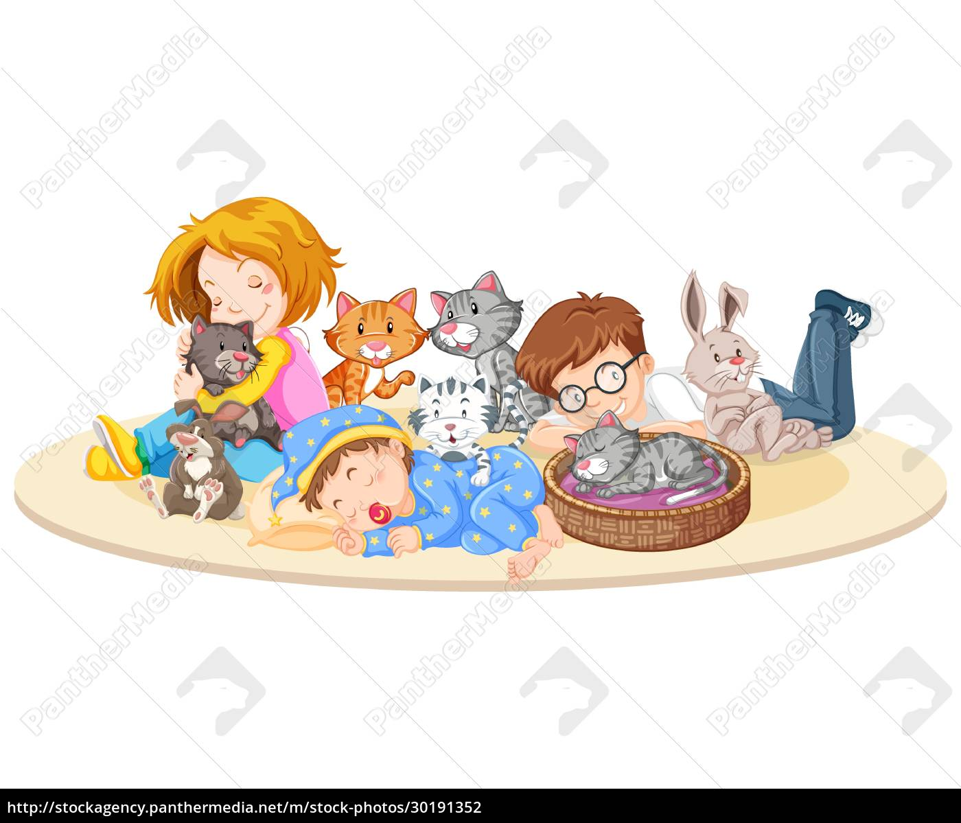 children, with, animals, on, isolated, background - 30191352