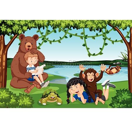 children, with, wild, animals, scene - 30193533