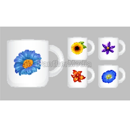 five, coffee, cups, with, flower, graphic - 30200382