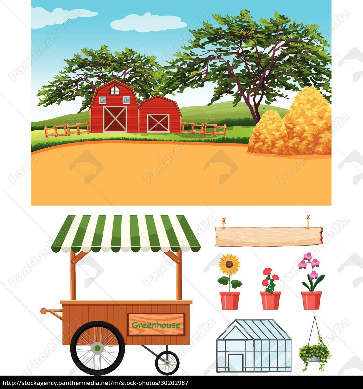 farm, scene, with, barns, and, farming - 30202987