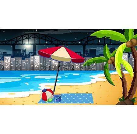 tropical, beach, landscape, scene, at, night - 30209208
