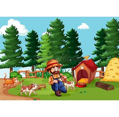 farmer, with, animal, farm, in, farm - 30231895