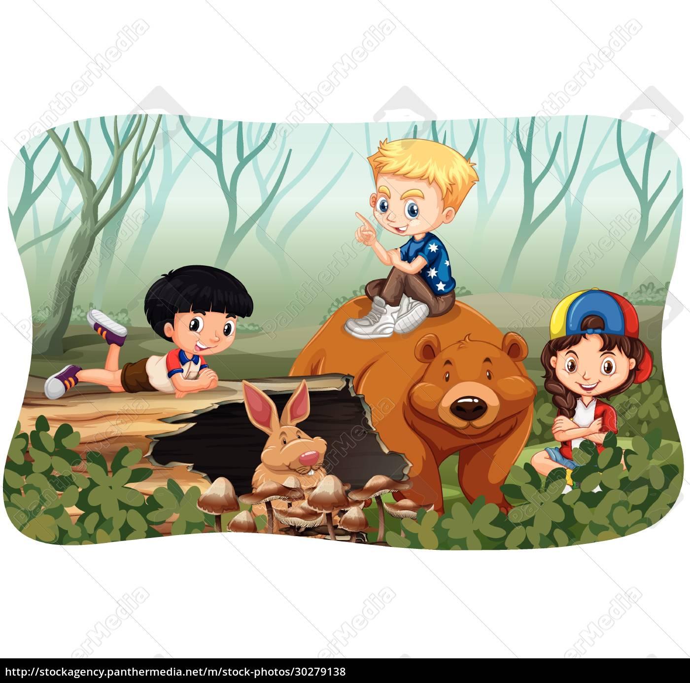 children, and, wild, animals, in, jungle - 30279138