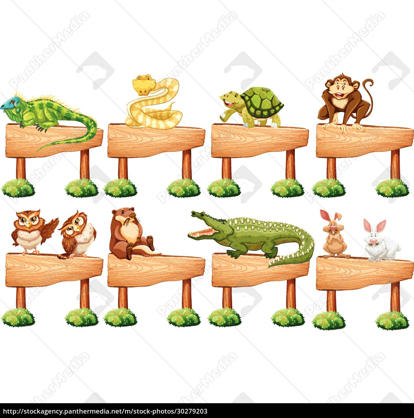 wooden, sign, with, different, wild, animals - 30279203