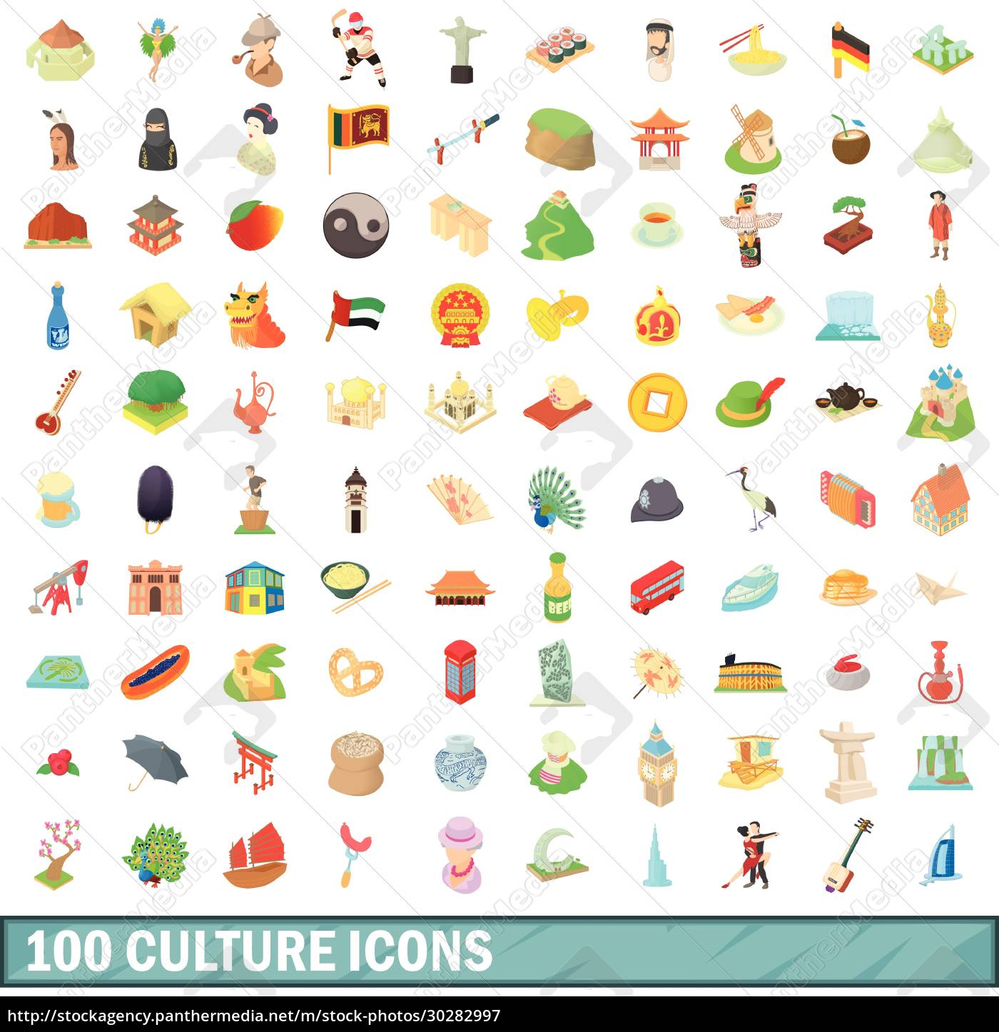 100, culture, icons, set, , cartoon, style - 30282997