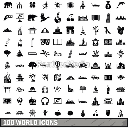 100, world, icons, set, , simple, style - 30303562