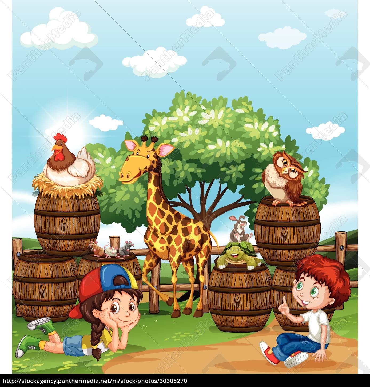 children, and, wild, animals - 30308270