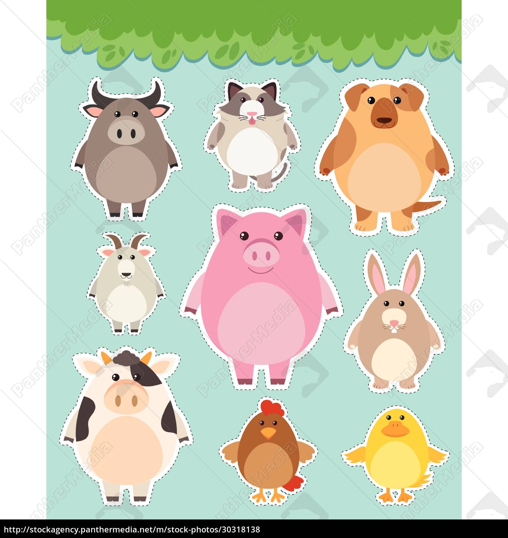 sticker, set, with, cute, animals - 30318138