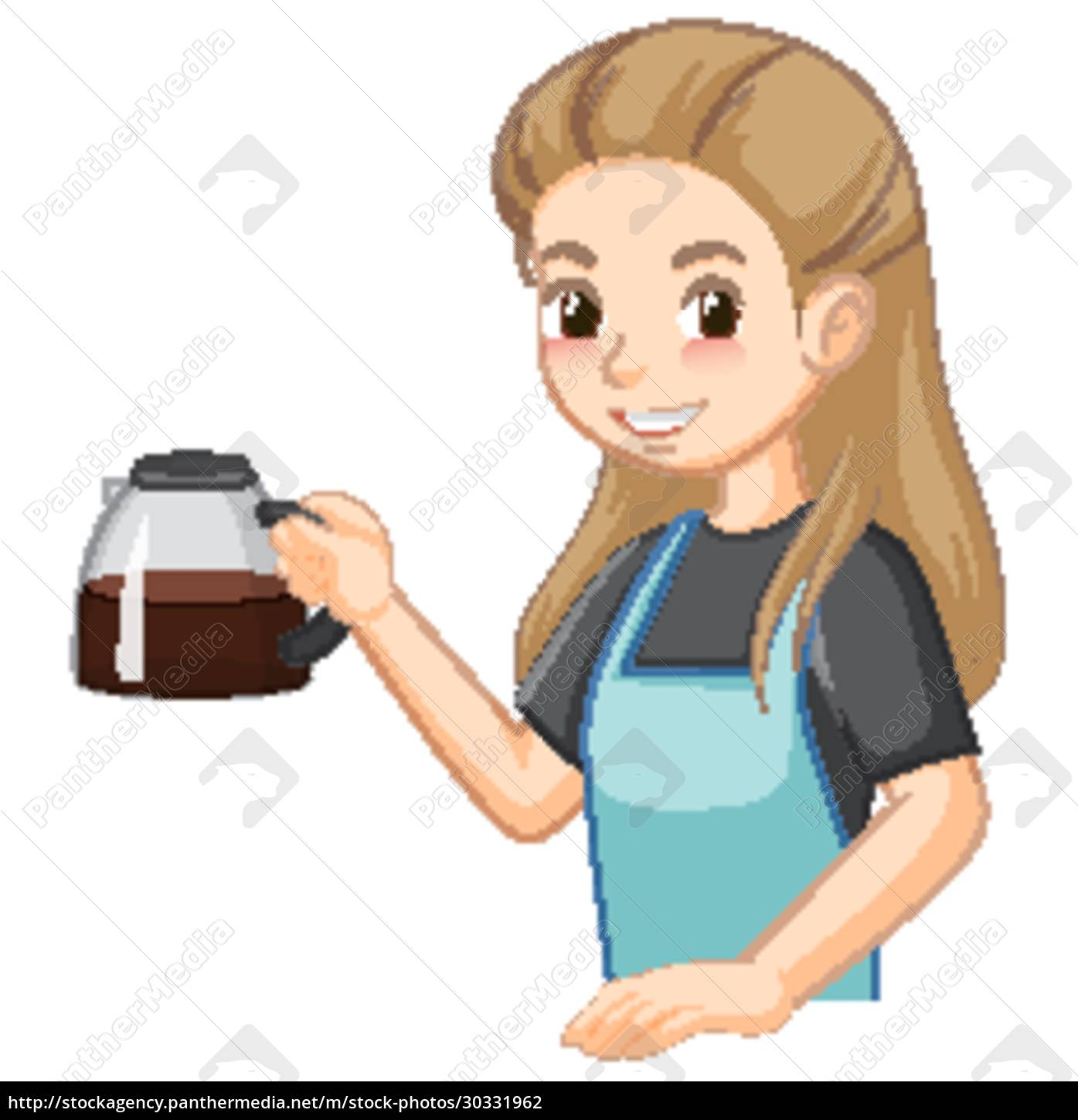 barista, lady, cartoon, character, with, coffee - 30331962