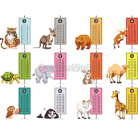 wild, animals, and, time, tables, template - 30335035
