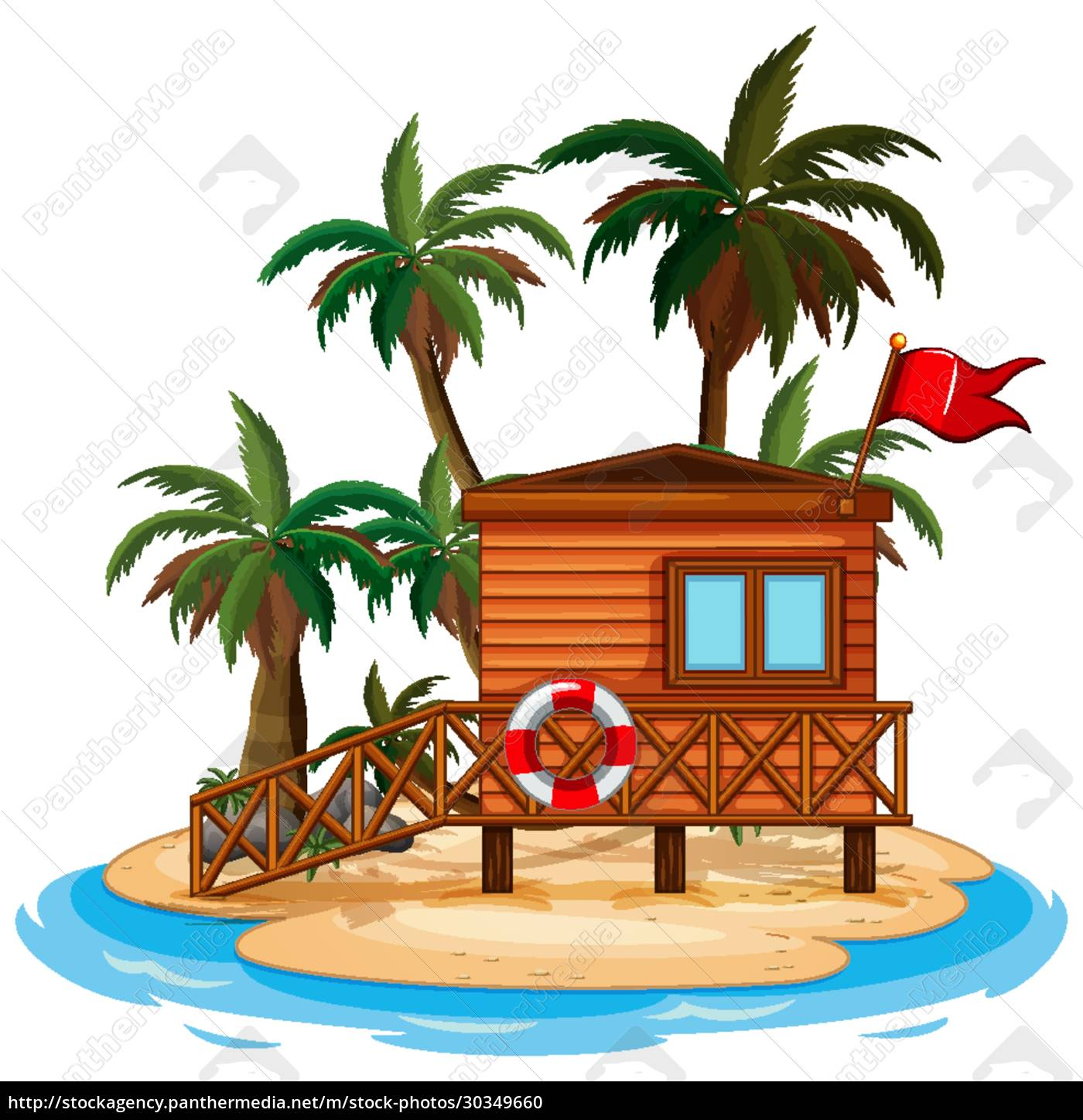 scene, with, wooden, hut, on, the - 30349660