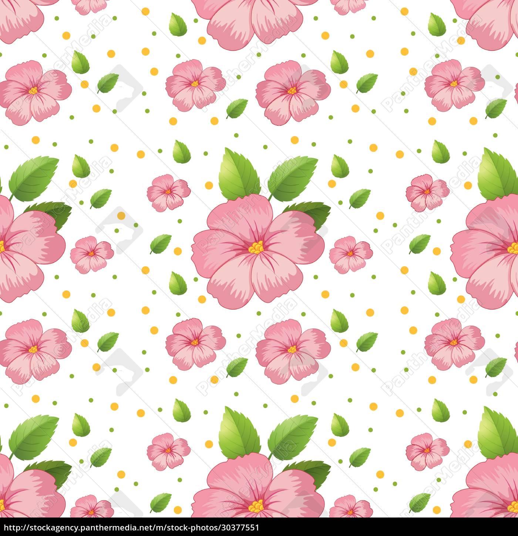 seamless, pink, hibiscus, wallpaper - 30377551