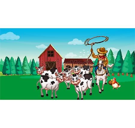 farmszene, im, tierfarm-cartoon-stil - 30387193