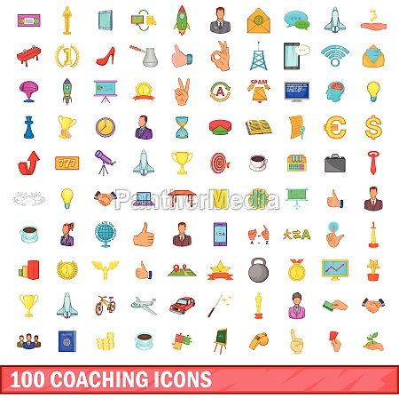100, coaching, icons, set, , cartoon, style - 30388883