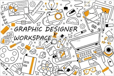graphic, designer, workspace, doodle, set - 30438802