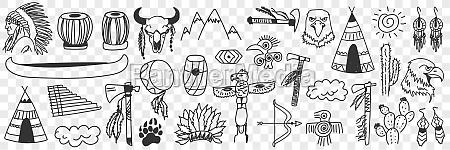 indian, tribe, symbols, doodle, set. - 30446952