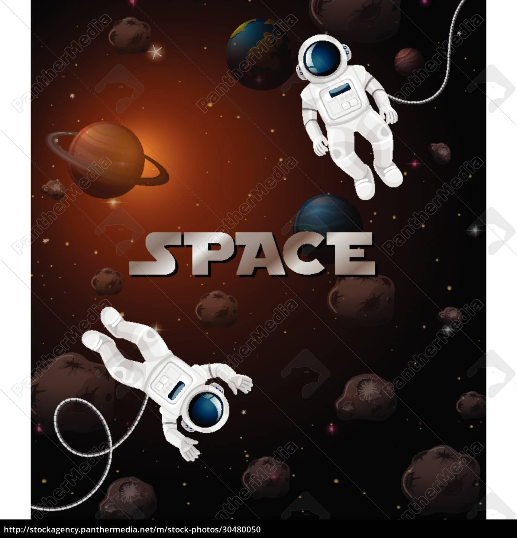 astronaut, in, der, weltraumszene - 30480050