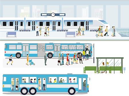bushaltestelle mit schnellzug und fahrgaesten