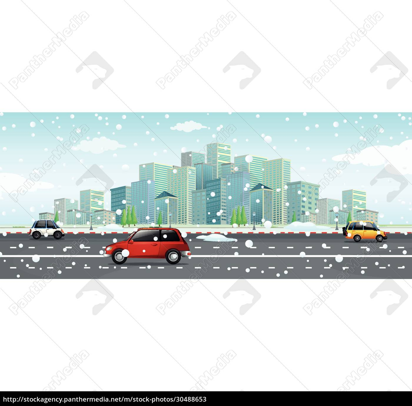 city, scene, with, snow, falling, on - 30488653