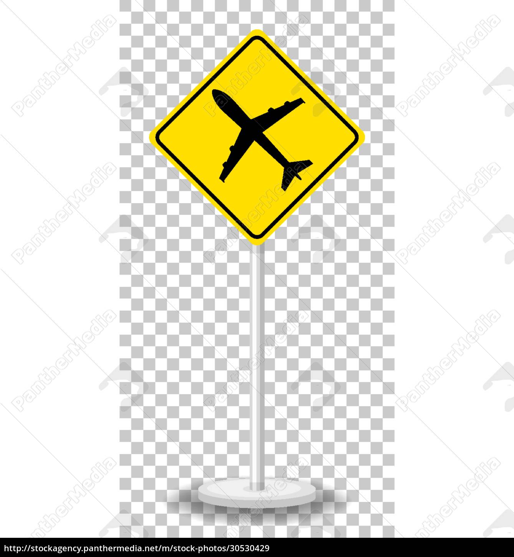 yellow, traffic, warning, sign, on, transparent - 30530429