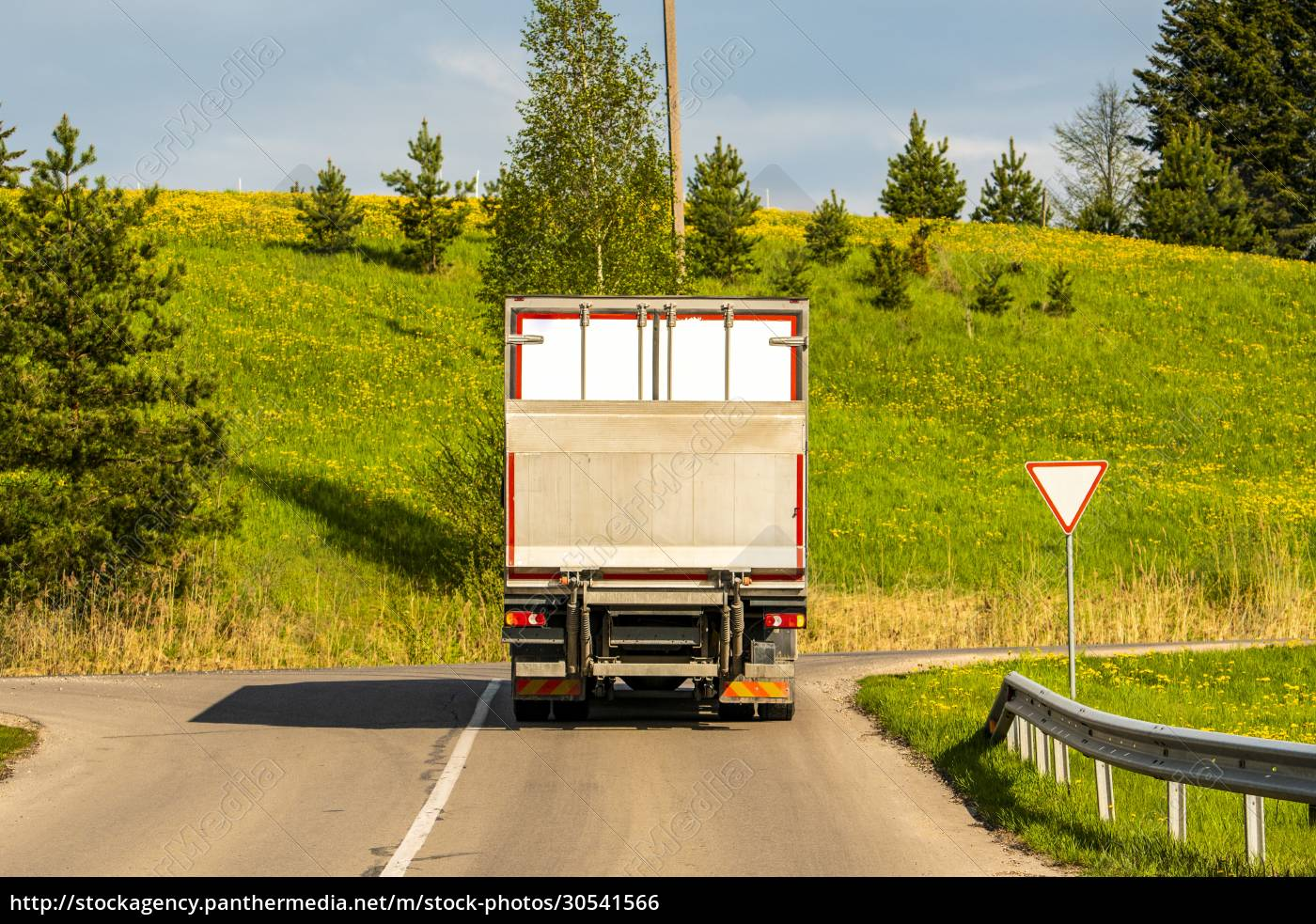 rear, view, of, truck, stopping, on - 30541566