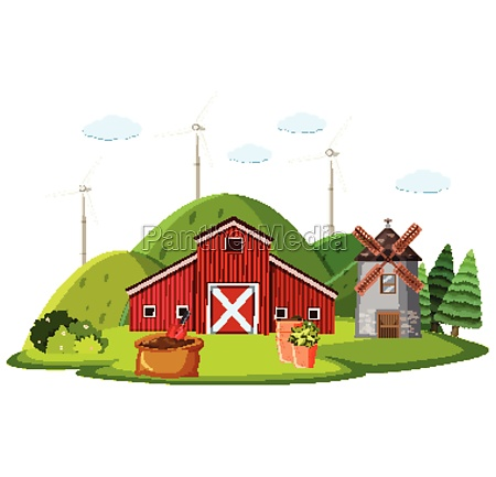 farm, scene, with, red, barn, and - 30558712