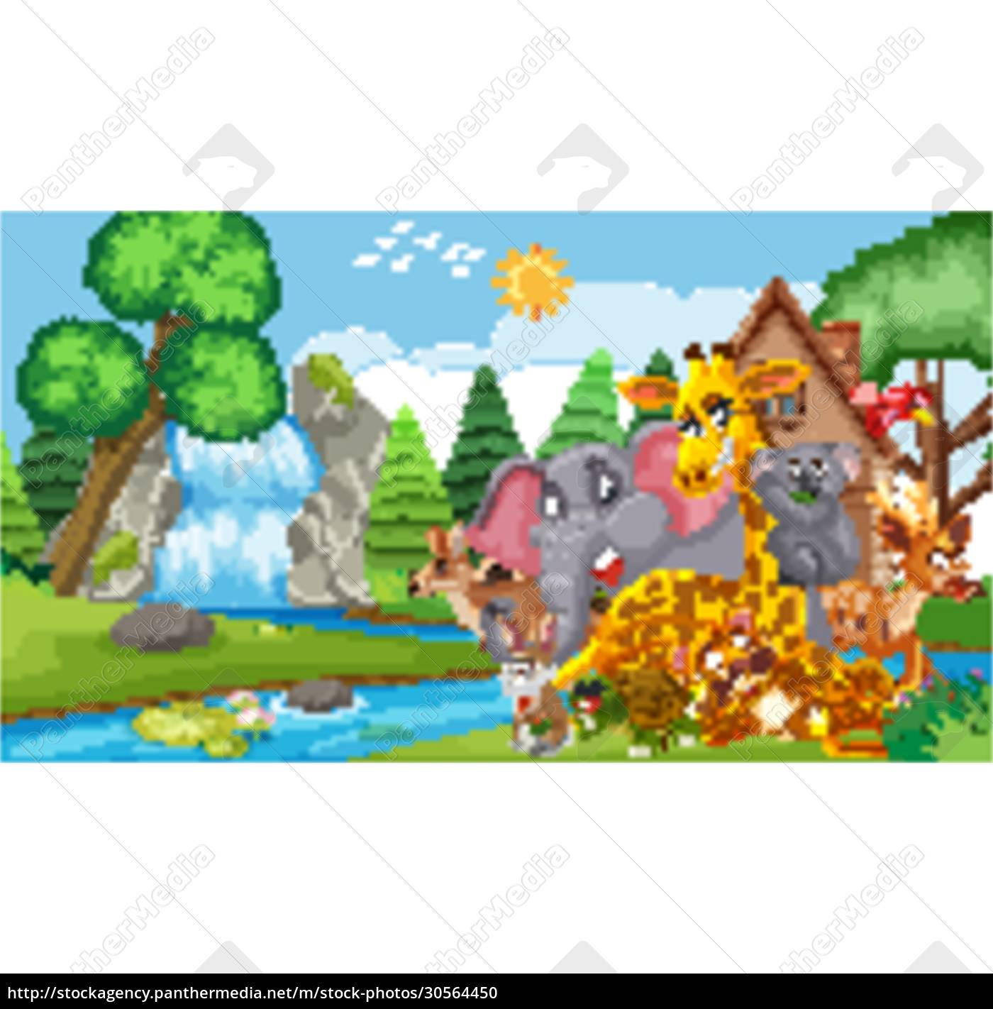 scene, with, many, wild, animals, in - 30564450