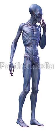 3d rendering eines blauen aliens isoliert
