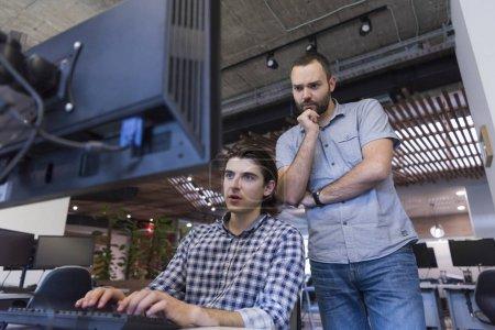 Konzern, Computer, Hintergrund, Glücklich, Unternehmen, jung - B131576302