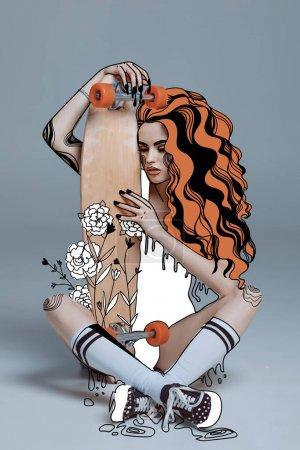 illustration schoen person eleganz maedchen sitzen