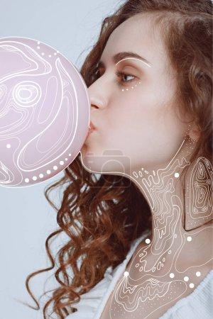 illustration person maedchen menschen portraet kaukasus