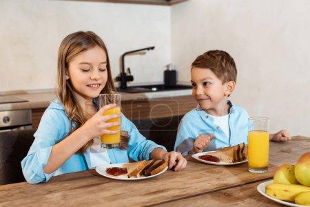 Tisch, Glücklich, Mädchen, Morgen, Niedlich, Kaukasisch - B369589948