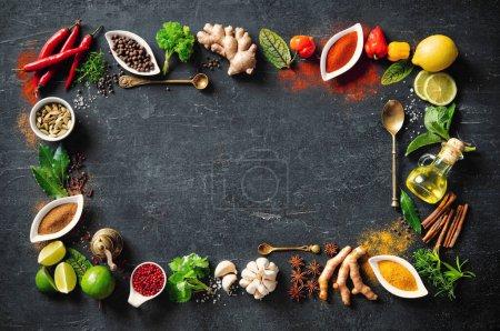 Tisch, Hintergrund, farbenfroh, Kräuter, Blatt, Ingwer - B377034986