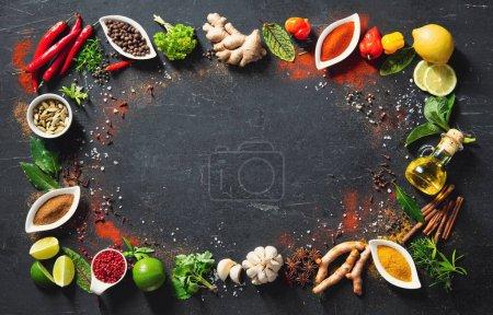 Tisch, Hintergrund, farbenfroh, Kräuter, Blatt, Ingwer - B377035214