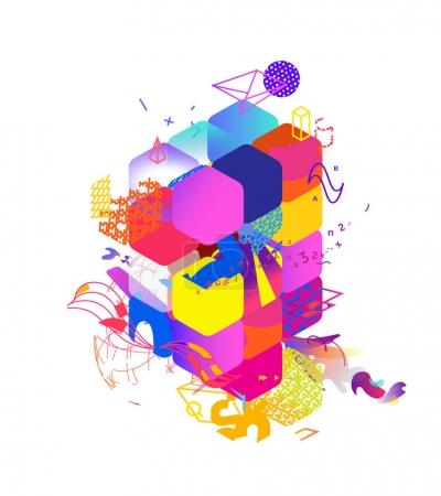 weiss hintergrund bunt grafik element illustration