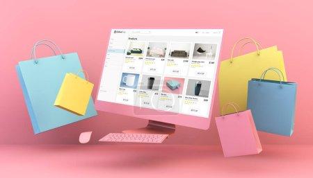gelb, blau, Computer, Einkaufen, Papier, Tasche - B372521828