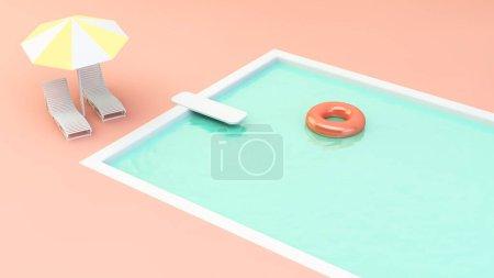 Schwimmbad, Freizeit, blau, Hintergrund, farbenfroh, Grafik - B370022600