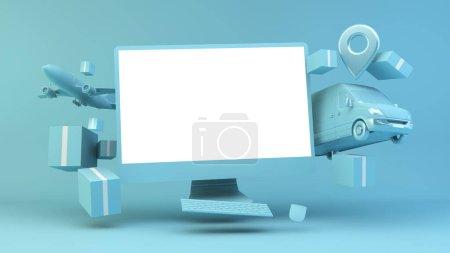 blau, Computer, Einkaufen, Feld, Paket, Verkauf - B372523280