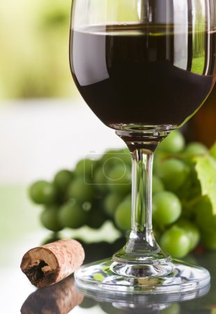 rot, Glas, Wein, mit, Flasche, Kork - B9774264