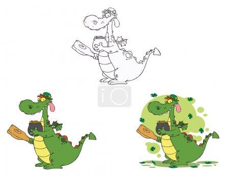 grün, Spaß, Bild, Illustration, Design, eingestellt - B8425969