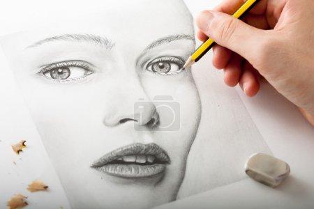 gelb weiss horizontale kunst portraet spaene