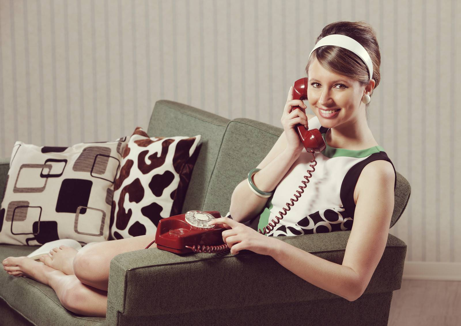 1960 style, Adult, Beautiful, Caucasian, Cheerful, Couch - D8567690