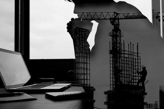 Silhouette, architecture, background, build, built structure, businessman - D30942934