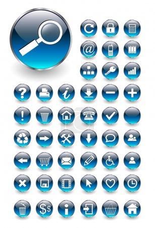 blau vektor runde illustration design eingestellt