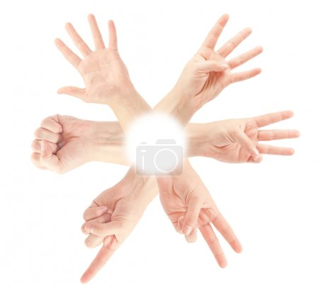 Konzern, weiß, Hintergrund, Anzahl, eingestellt, Fünf - B37493085