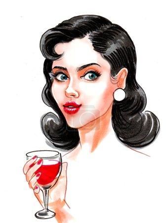 rot, Illustration, Glas, schön, Kunst, Mädchen - B404533482